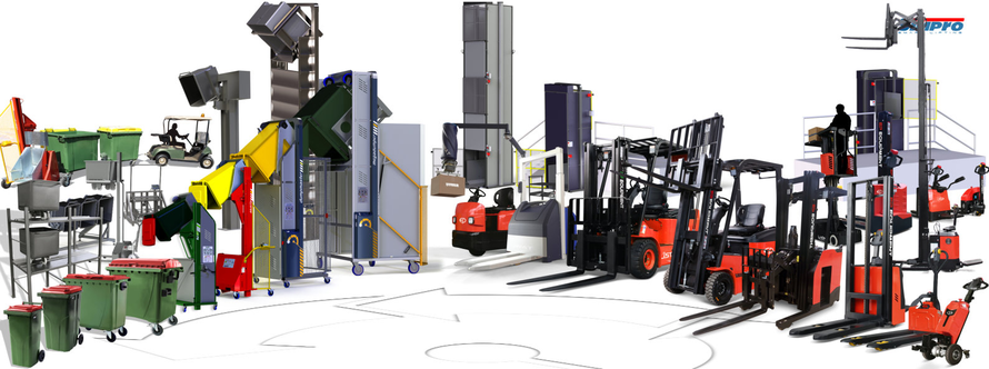 Simpro product lineup including Dockmaster, Multi-Tip, Dumpmaster, MegaDumper and Quikstak