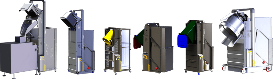 Dumpmaster SS has a modular design which allows emptying almost any bin at any height