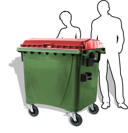 The 1100-litre wheelie bin from Simpro is the largest mobile waste bin available, with four castor wheels, large grab handles and a robust HDPE body