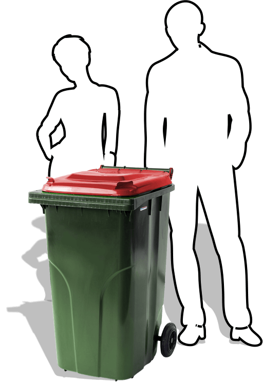 The 240-litre Wheelie Bin from Simpro is the classic mobile garbage bin, used by schools, households and businesses for waste collection and recycling