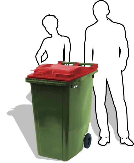 The 360-litre Wheelie Bin from Simpro is our largest two-wheeled mobile garbage bin, with extra volume for commercial users