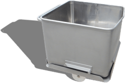 The wheeled base of the 'Dropaway Base' Eurobin stays in place when the bin is lifted, minimising contamination hazards