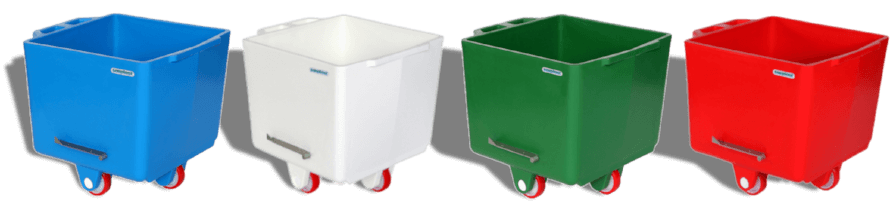 FluroBins from Simpro are robust, colour-coded polyethylene meat carts, compliant with DIN9797 and ideal for hygiene-critical food industry applications