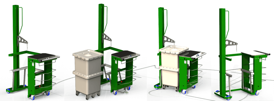 FoodCap Retail Unloader is a hydraulic lifting machine from Simpro which safely removes compressed meat from FoodCap capsules